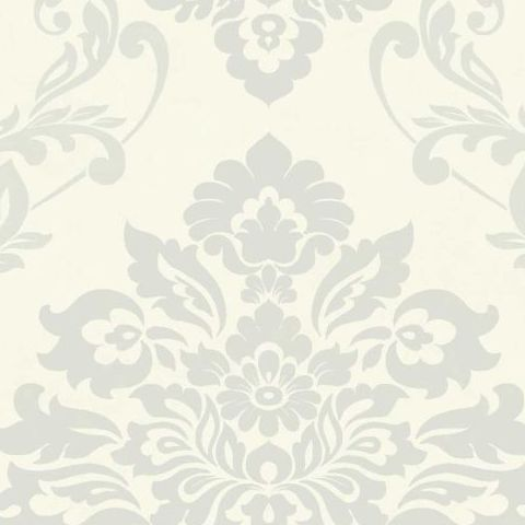Arthouse Vintage Palazzo Damask and Stripe Heavyweight Vinyl Wallpaper 290404 White/Platinum