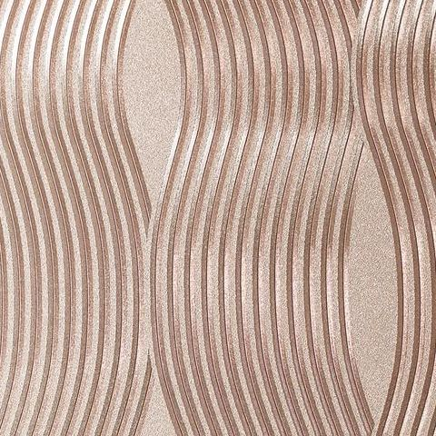 Arthouse Vintage Foil Wallpaper-Wave 294500 Rose Gold