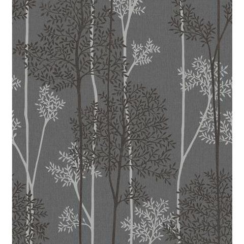 Super Fresco Easy Innocence Wallpaper Eternal 33-290 Charcoal and Silver