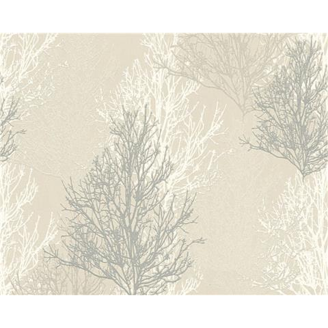 AS Creations Glitter Tree Wallpaper 34819-2 Cream/Grey