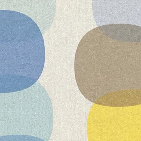 AS Creations Pop Colours Wallpaper Offlong Circle 355901 Blue/Yellow/Coffee