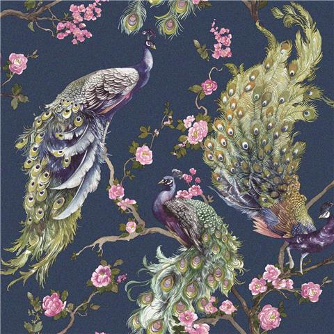 Statement wallpaper Menali peacock 35922 navy