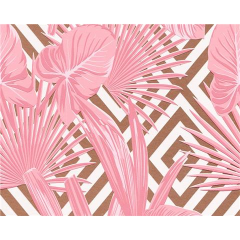 AS Tropical palm Wallpaper Pink/Gold 36811-1