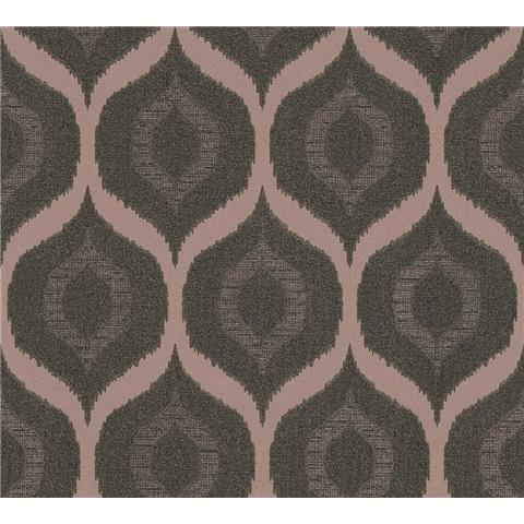 AS Creations Jewel II Textured Vinyl Ogee Wallpaper 36873-1 Chocolate/Rose Gold