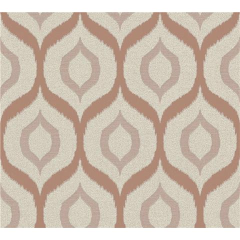 AS Creations Jewel II Textured Vinyl Ogee Wallpaper 36873-2 Rose Gold/Cream