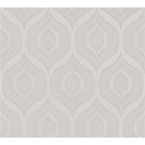 AS Creations Jewel II Textured Vinyl Ogee Wallpaper 36873-3 Silver