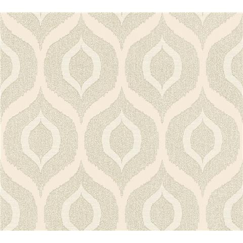 AS Creations Jewel II Textured Vinyl Ogee Wallpaper 36873-4 Cream
