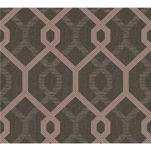 AS Creations Jewel II Textured Vinyl Geo Wallpaper 36874-1 Chocolate/Rose Gold