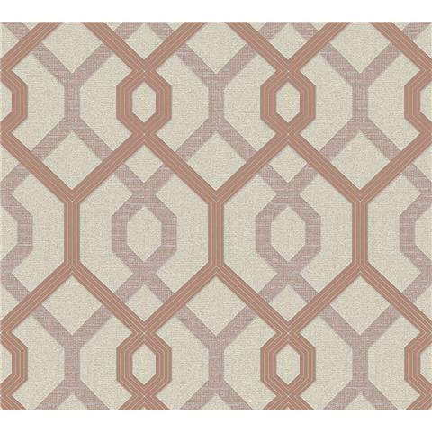 AS Creations Jewel II Textured Vinyl Geo Wallpaper 36874-2 Rose Gold/Cream