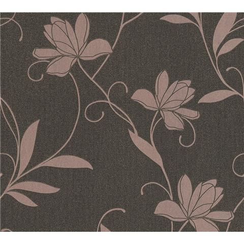 AS Creations Jewel II Textured Vinyl Floral Wallpaper 36876-1 Chocolate/Rose Gold