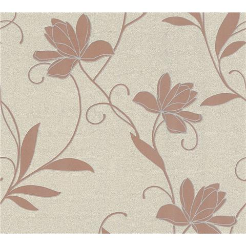 AS Creations Jewel II Textured Vinyl Floral Wallpaper 36876-2 Rose Gold/Cream