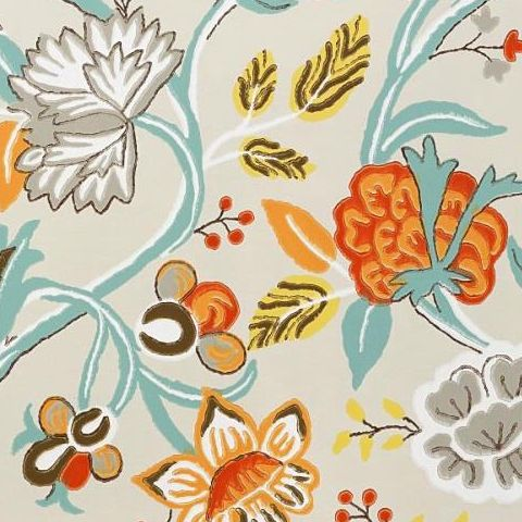 Thibaut Jubilee Cayman Wallpaper T4907 Cream and Aqua