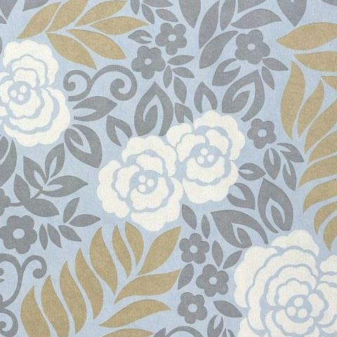 Thibaut Jubilee Yvette Wallpaper T4926 Light Blue