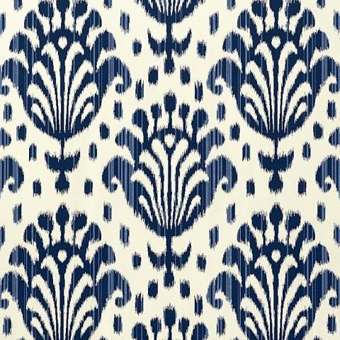 ThibautJubilee Thai Ikat Wallpaper T4948 Navy on Off White