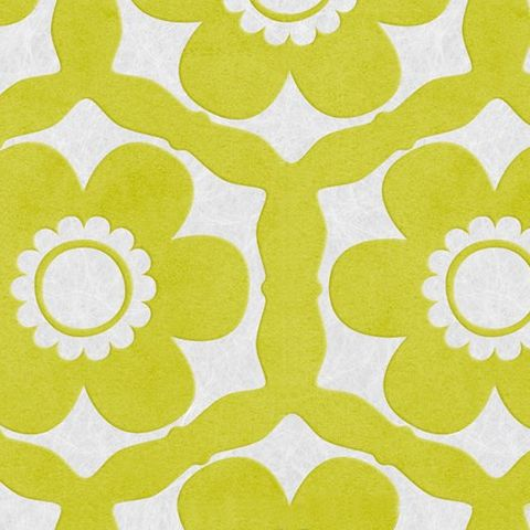 Graham and Brown Ultimate Flock Wallpaper-Barbara Hulanicki Funky Flora 51-014 Lime and Ice