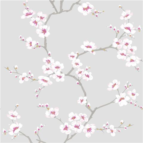 Graham and Brown Fresca Wallpaper Apple Blossom 51-057 grey