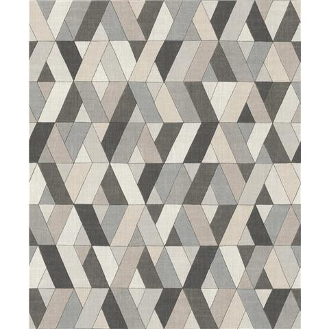 Rasch Barbara Home Geo Wallpaper 536720 Taupe/Charcoal