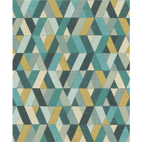 Rasch Barbara Home Geo Wallpaper 536744 Teal/Mustard