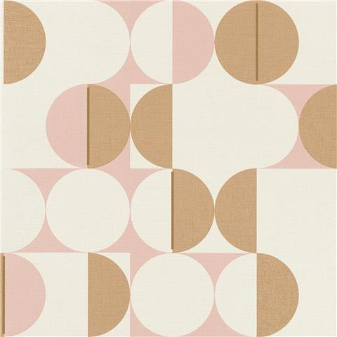 Rasch Club Botanique Retro Circle Wallpaper 538007 Pink/Gold