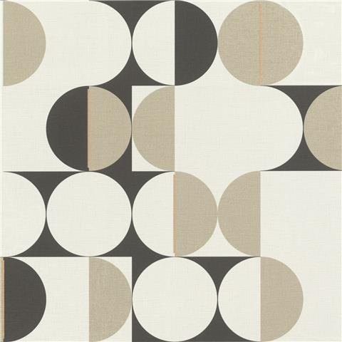 Rasch Club Botanique Retro Circle Wallpaper 538021 black/gilver