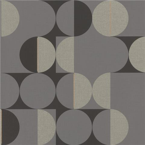 Rasch Club Botanique Retro Circle Wallpaper 538052 charcoal/black