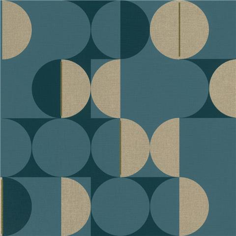 Rasch Club Botanique Retro Circle Wallpaper 538069 blue/gold
