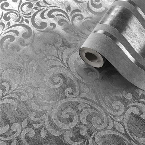 MURIVA COUTURE Mara Damask WALLCOVERING 701531 silver