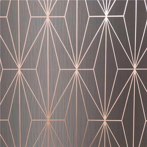 MURIVA COUTURE WALLCOVERING kayla 703015 charcoal/rose gold