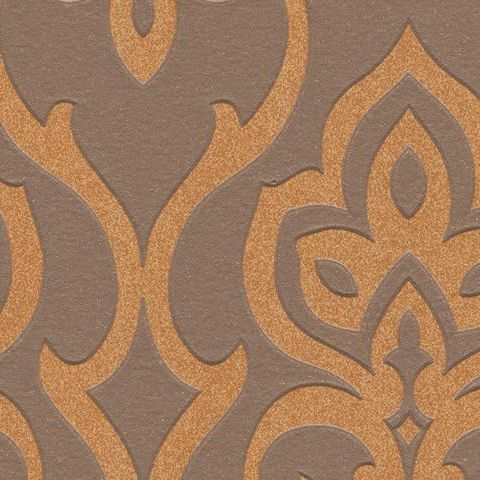 Barbara Becker Contemporary Damask Style Wallpaper Chocolate 717051
