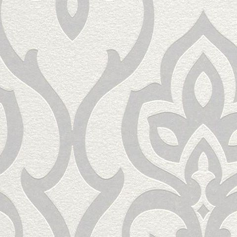 Barbara Becker Contemporary Damask Style Wallpaper Ivory 717068