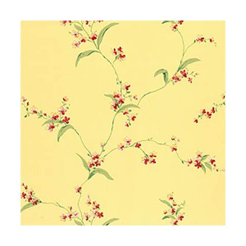 Thibaut Spring Lake Orchid Trail Yellow Wallpaper