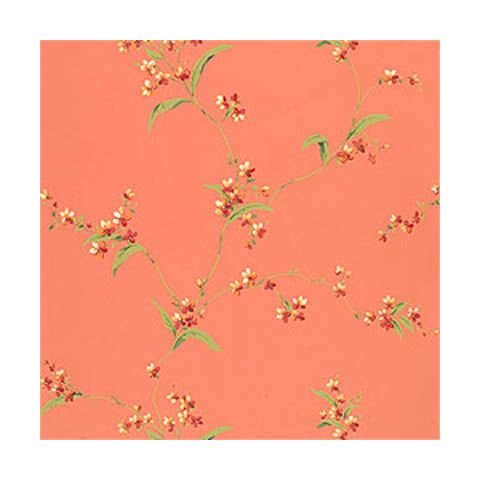 Thibaut Spring Lake Orchid Trail Coral Wallpaper