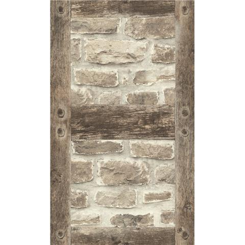 Barbara Becker Beige/Brown Brick with Tudor Beams Wallpaper 860511