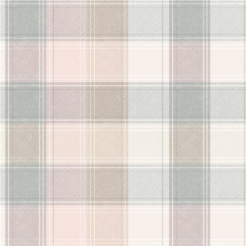 Arthouse Country Check Wallpaper 901900 Pink/Grey