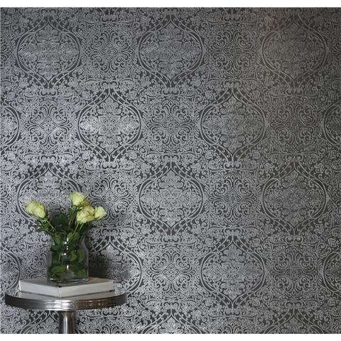 Arthouse Kiss Foil Wallpaper Ogee Silver/Charcoal Damask 903309