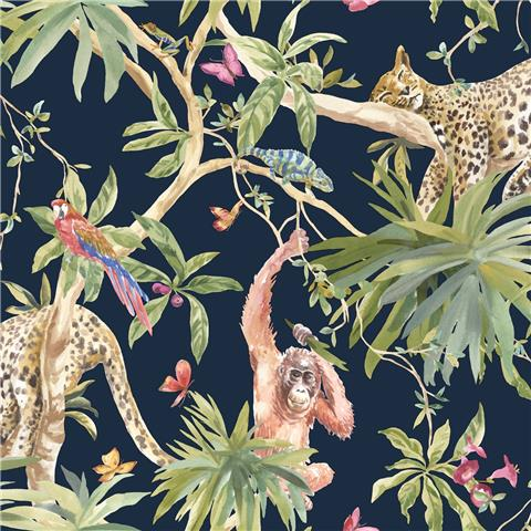 Statement wallpaper Jungle Animals 90690 navy