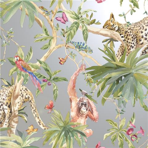 Statement wallpaper Jungle Animals 90692 Silver