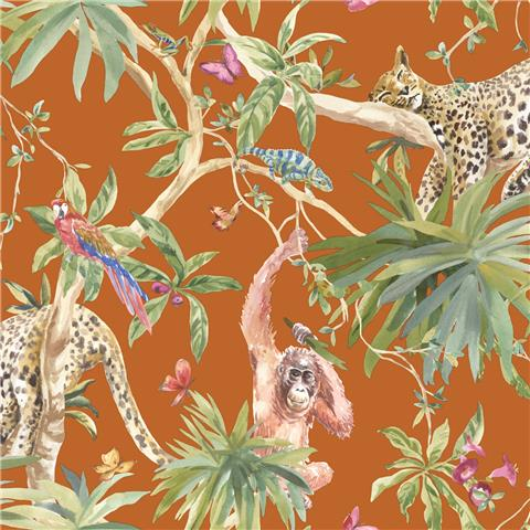 Statement wallpaper Jungle Animals 90694 Orange