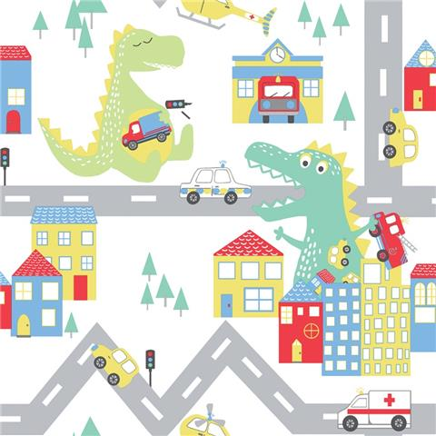 Over the Rainbow Wallpaper-Dino road 90910 white
