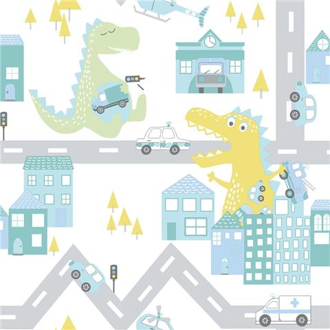 Over the Rainbow Wallpaper-Dino road 90912 teal