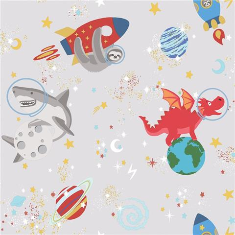 Over the Rainbow Wallpaper-Space animals 90920 grey
