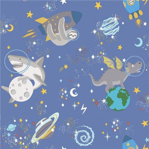 Over the Rainbow Wallpaper-Space animals 90921 blue