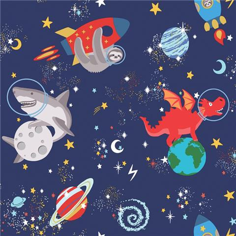 Over the Rainbow Wallpaper-Space animals 90922 navy