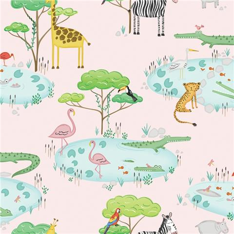 Over the Rainbow Wallpaper-Crocodile Lake 90931 Pink