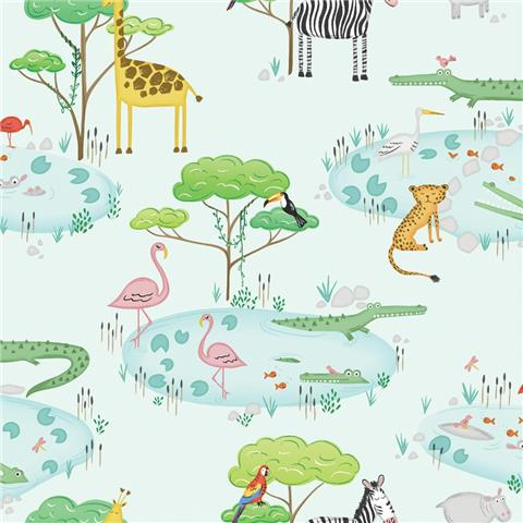 Over the Rainbow Wallpaper-Crocodile Lake 90932 Teal