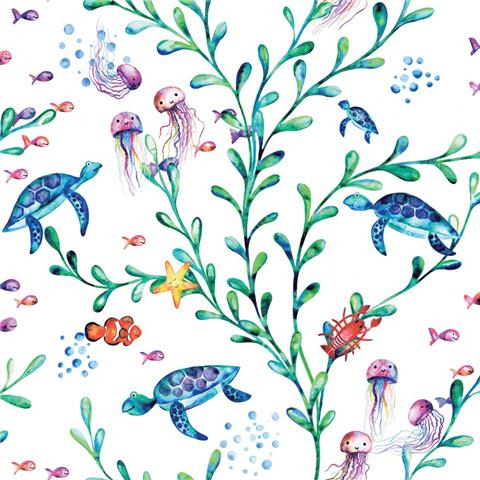 Over the Rainbow Wallpaper-under the sea 90940 white