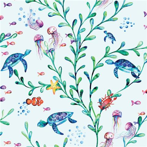 Over the Rainbow Wallpaper-under the sea 90941 teal