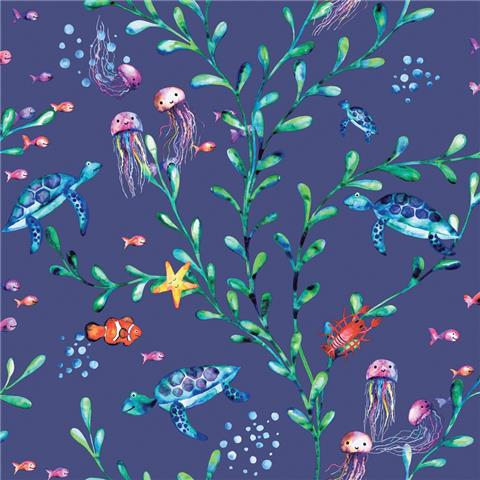 Over the Rainbow Wallpaper-under the sea 90942 navy