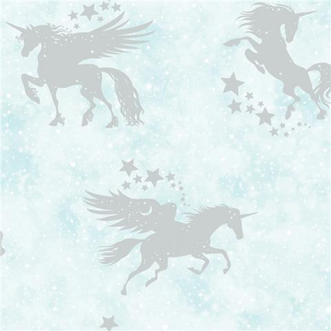 Over the Rainbow Wallpaper-Iridescent unicorn 90950 teal