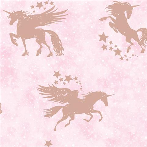 Over the Rainbow Wallpaper-Iridescent unicorn 90951 pink